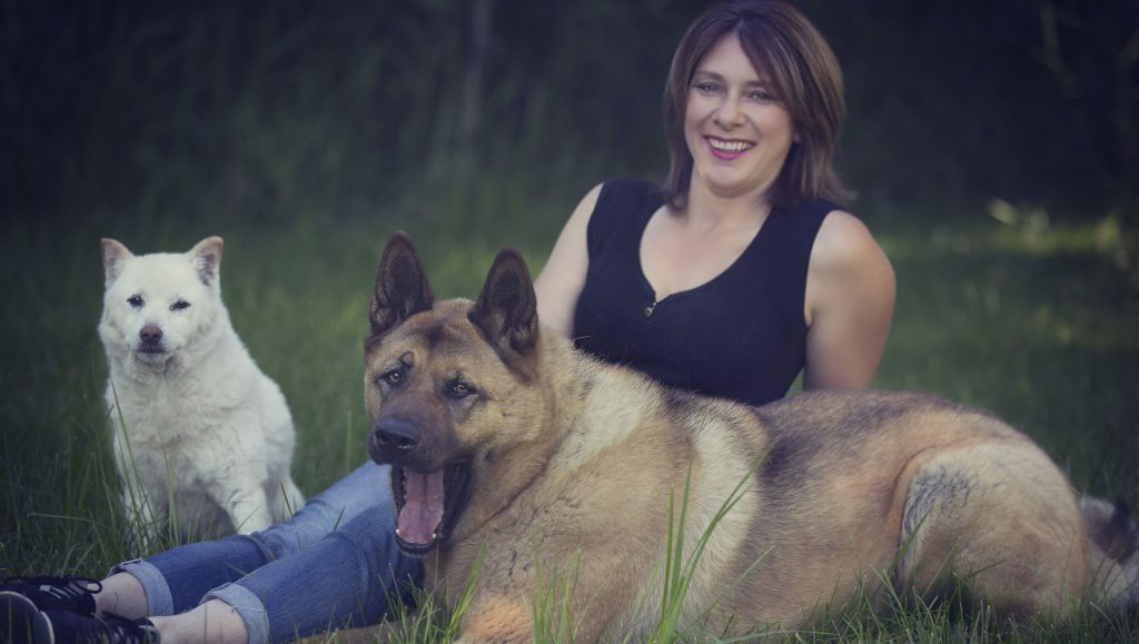 Lisa with her dogs Jake and Ottis