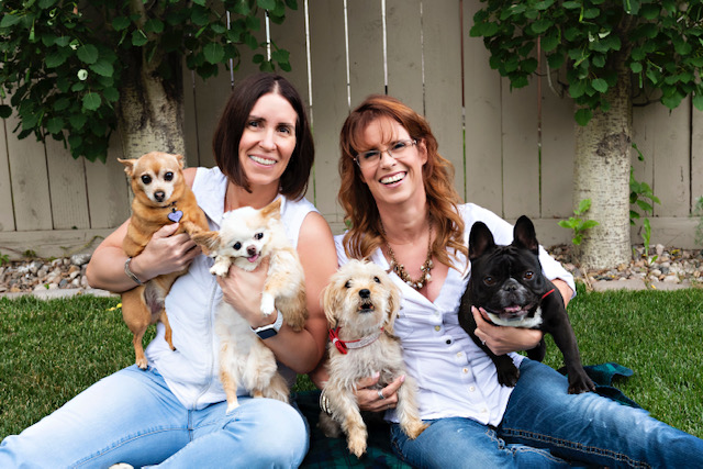Wendy & Karen with their dogs.